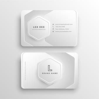 Moderne, stilvolle visitenkarte mit minimalem weißem farbverlauf