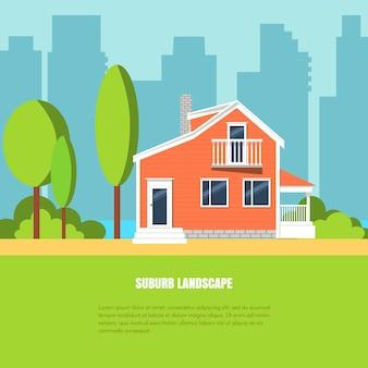 Moderne stilvolle vorortlandschaft mit haus, bäumen im yard auf grünem gras und stadt backgrou