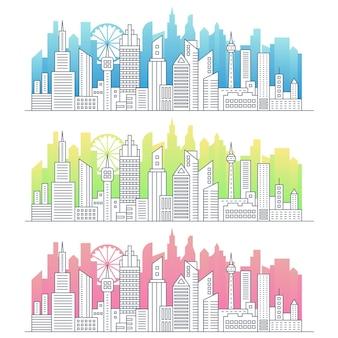 Moderne strichzeichnungen der modernen großstadt-stadtbild-panoramaillustration