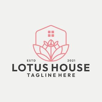 Moderne strichzeichnungen lotus home logo vektor