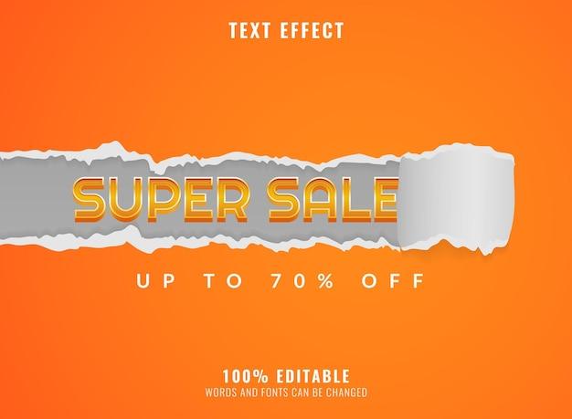 Moderne super-sale-vorlage mit bearbeitbarem texteffekt aus zerrissenem papier