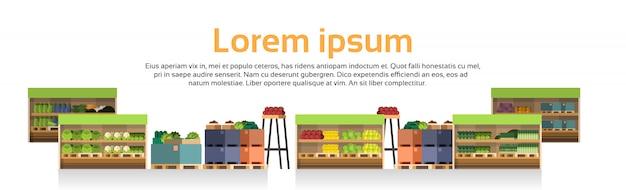 Moderne supermarkt-regale lokalisierten einzelhandelsgeschäft, supermarkt mit zusammenstellung des lebensmittelgeschäft-lebensmittels