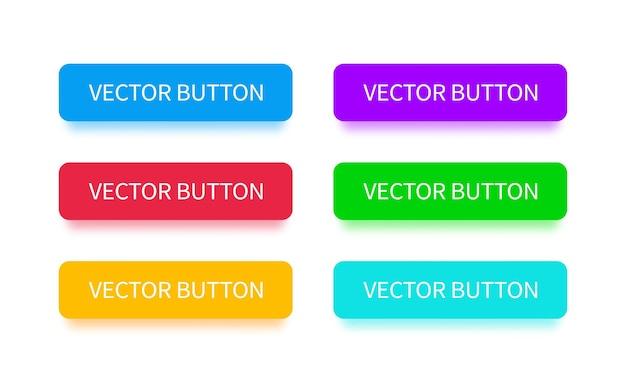 Moderne tasten mit fallendem schatten. flacher stil. vector mehrfarbige schaltflächen für landing page, webdesign, interface, apps, spiel- und softwaredesign.