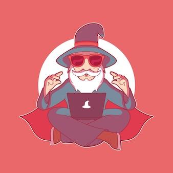 Moderne tech wizard-charakter-vektor-illustration business-technologie-marken-design-konzept