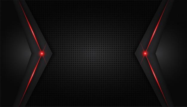 Moderne technologie des abstrakten metallischen roten glänzenden farbschwarzen rahmenplans