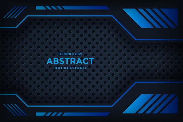 Moderne technologie des abstrakten metallischen schwarzen blauen rahmenplans