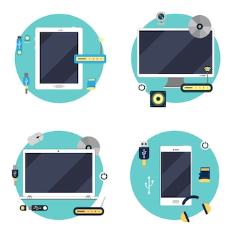Moderne technologie: laptop, computer, tablet und smartphone. elemente festlegen. vektor-illustration