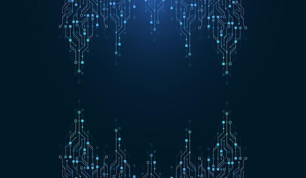 Moderne technologie leiterplatte textur hintergrunddesign. quantencomputer-technologiekonzepte, große datenverarbeitung. futuristischer blauer platinenhintergrund. minimales vektor-motherboard.