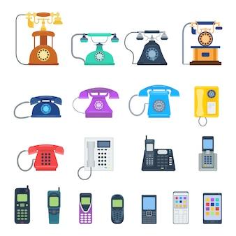 Moderne telefone und weinlesetelefone lokalisiert. klassisches telefontechnologie-stützsymbol, mobiltelefonausrüstung der retro- telefone.