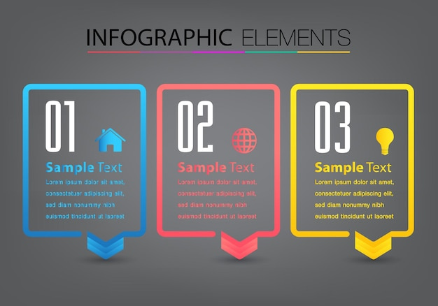 Moderne textbox vorlage infografik banner timeline