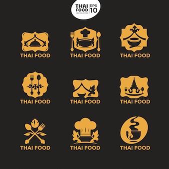 Moderne thailändische lebensmittelgoldlogoschablone für kulinarisches geschäft und unternehmens