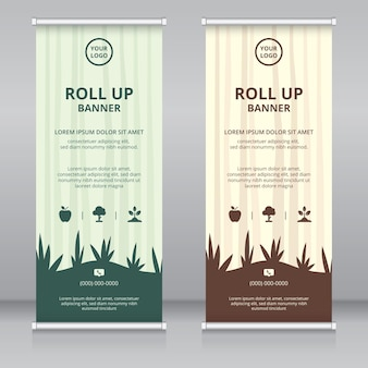 Moderne themenorientierte moderne roll-up-banner-designschablone