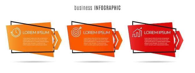 Moderne timeline-infografik 3 optionen