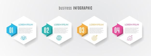 Moderne timeline-infografik-vorlage 4 schritte