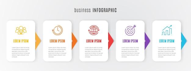 Moderne timeline-infografik-vorlage 5 schritte