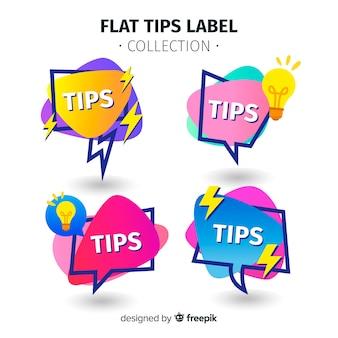 Moderne tipps label-kollektion mit flachem design