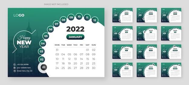 Moderne tischkalendervorlage für das neue jahr 2022