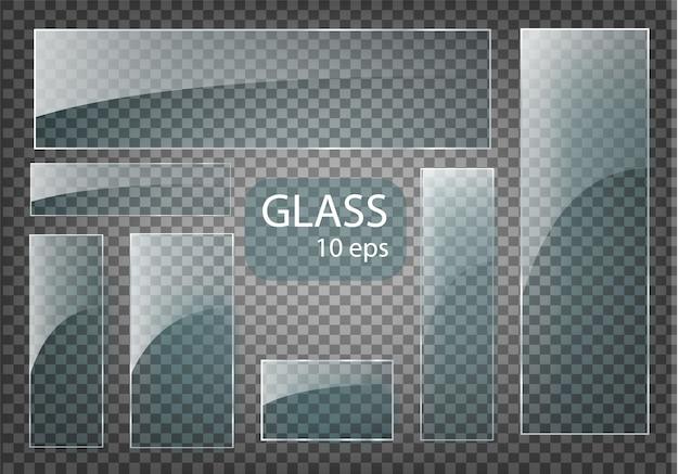 Moderne transparente glasplatten auf musterhintergrund gesetzt.