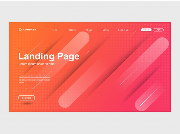 Moderne trendige farbabstufungswebsiteschablone