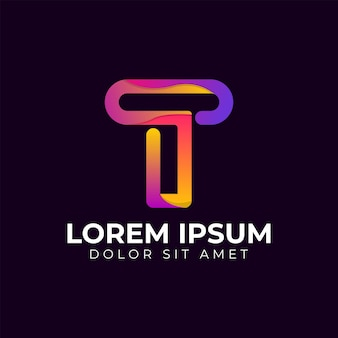 Moderne trendige geometrische logo-design-vorlage für den buchstaben t mit farbverlauf. geschäftstechnologie und digitales abstraktes verbindungsvektorlogo.