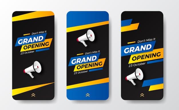 Moderne trendige pop-grand-eröffnung oder wiedereröffnung event-social-media-geschichten-vorlage für ankündigungsmarketing mit sprecher megaphon und blau-gelber farbe