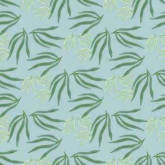 Moderne tropische blätter nahtloses muster. tropisches blatt auf blauem hintergrund.