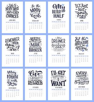 Moderne typografie-schriftzugkompositionen für den 2021-jahreskalender mit lustigen motivationszitaten. handgezeichnete illustrationen.