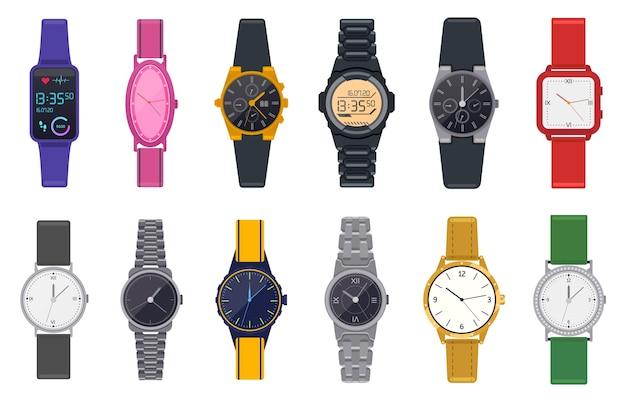 Moderne uhren. armbanduhr, unisex-zeitchronograph, smartwatch, mann frau moderne und mode armbanduhren illustration ikonen gesetzt. smartwatch tragbare und modische uhr