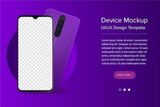Moderne ui / ux- und smartphone-vorlage mit leerem bildschirm