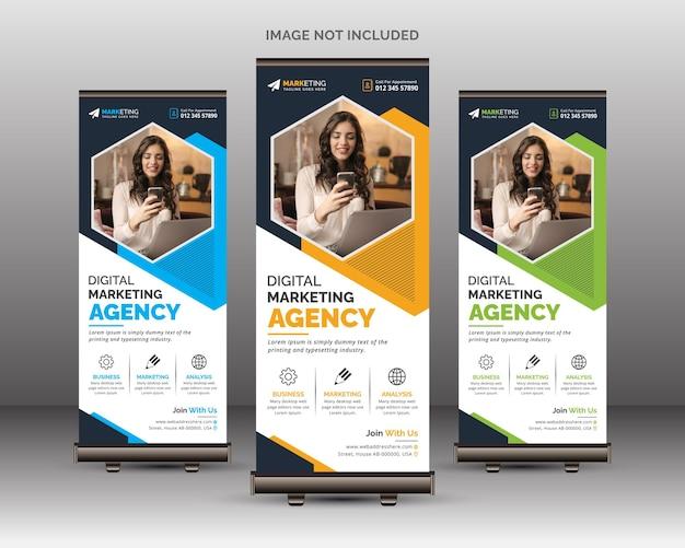 Moderne und kreative corporate roll up banner vorlage mit geometrischen formen einzigartiges design