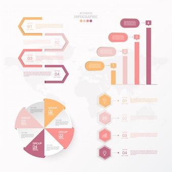 Moderne und standard kreise infografiken für aktuelle business-konzept festgelegt.