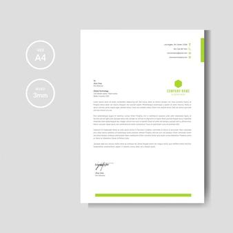 Moderne und unbedeutende grüne briefkopfplanschablone
