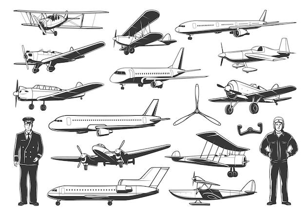 Moderne und vintage flugzeuge, zivile und militärische pilotenfiguren