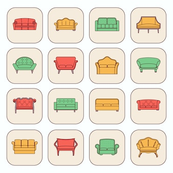 Moderne und weinlesemöbelikonen der bequemen sofas stellten lokalisierte vektorillustration ein