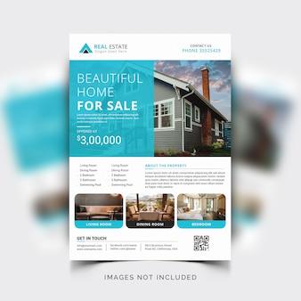 Moderne unternehmensflyervorlage für immobilien- oder grundstücksmakler