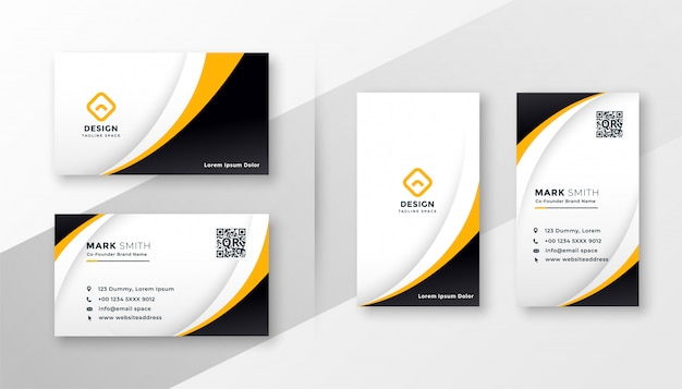 Moderne unternehmensvisitenkarte im gelben thema