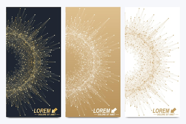 Moderne vektor-flyer. geometrische abstrakte darstellung mit goldenem mandala. molekül- und kommunikationshintergrund für medizin, wissenschaft, technik, chemie.