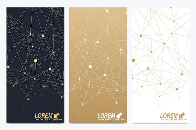 Moderne vektor-flyer. geometrische abstrakte darstellung. molekül- und kommunikationshintergrund für medizin, wissenschaft, technik, chemie. goldene kybernetische punkte. linienplexus. kartenoberfläche