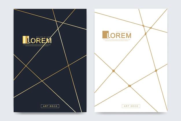 Moderne vektorvorlage für broschüre, prospekt, flyer, anzeige, cover, magazin oder jahresbericht im a4-format. goldener firmenstil für brandbook und leitlinie. art-deco-stil.