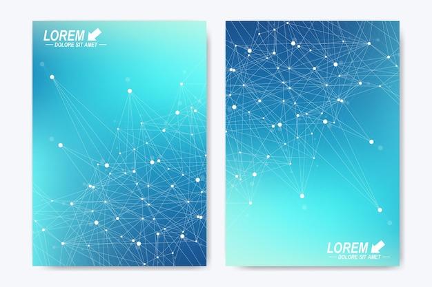 Moderne vektorvorlage für broschüren-flyer-anzeigen-cover-katalog-magazin oder jahresbericht. a4-format. wirtschaft, wissenschaft, medizinisches design. blaue kybernetische punkte. linienplexus. kartenoberfläche.