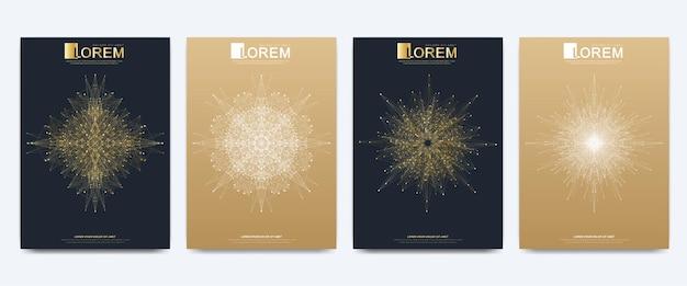 Moderne vektorvorlage für broschüren-flyer-anzeigen-cover-katalog-magazin oder jahresbericht. goldenes layout im a4-format. business-, wissenschafts- und technologiedesign. präsentation mit goldenem mandala.