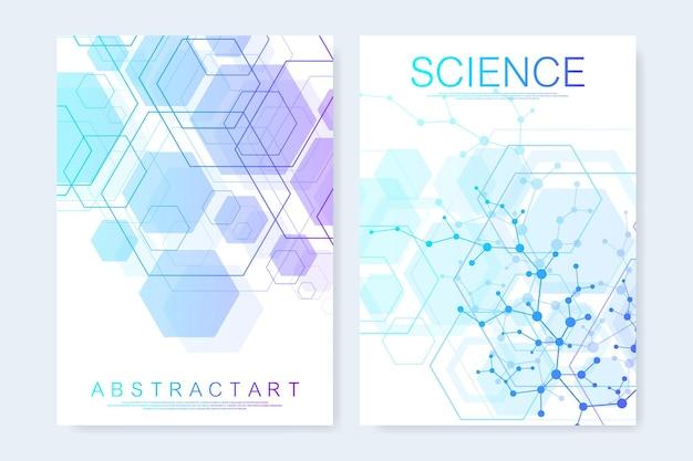 Moderne vektorvorlagen für broschüre, cover, banner, flyer, jahresbericht, broschüre. komposition der abstrakten kunst mit verbindungslinien und punkten. wellenfluss. digitale technologie, wissenschaft oder medizinisches konzept