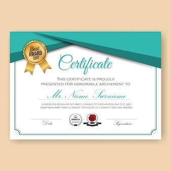 Moderne verified certificate hintergrund vorlage mit türkis farbschema