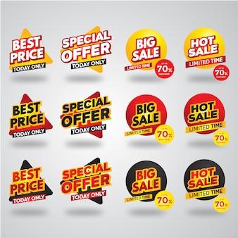 Moderne verkauf etiketten und banner premium collection set