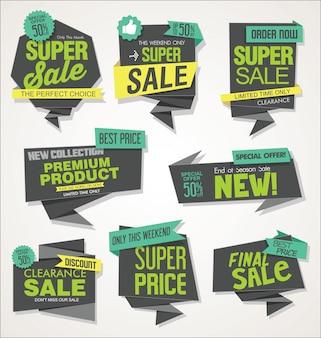 Moderne Verkaufsfahnen und moderne Sammlung der Aufkleber