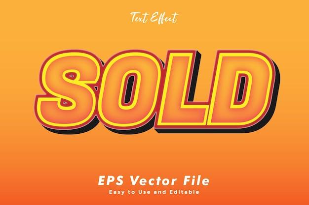 Moderne verkaufte texttypografie-effektschablone