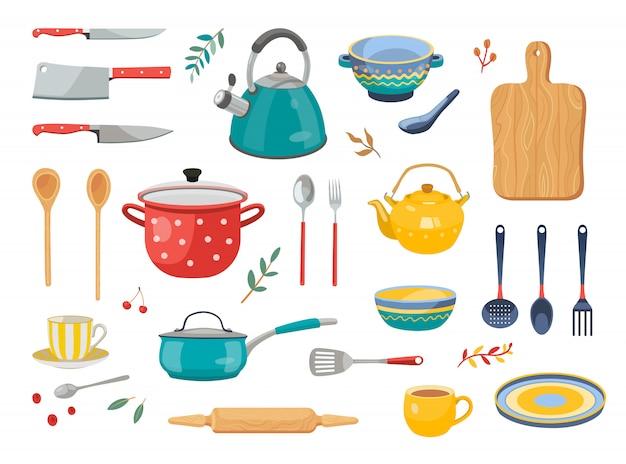 Moderne verschiedene küchengeräte flache symbolsatz