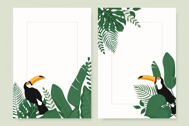 Moderne vertikale banner mit tropischen blättern und tukanvogel.