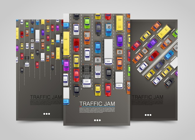 Moderne vertikale transportbanner. road-flyer-set. stau-infografiken. vektor-illustration