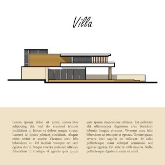 Moderne villa. template copyspace am unteren rand auf einem beige.
